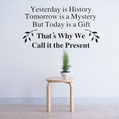 57cm x30cm  Inspirational Quotes Yesterday Is History Wall Decals Motivational Sticker For Office Living Room Decoration
