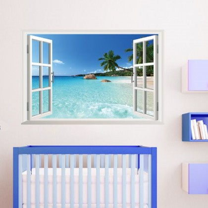 3D Seaview Fake Window Removable Wall Sticker- TY1430