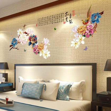 2D - chinese new year peony flowers home decoration removable wall sticker