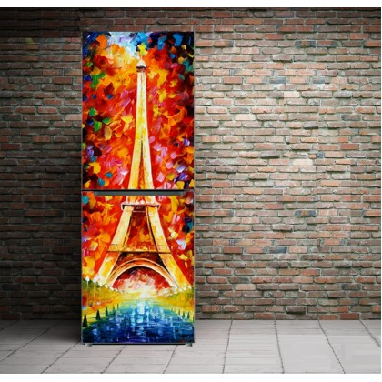 The Colorful Eiffel Tower Oil Painting Refrigerator Adhesive Sticker