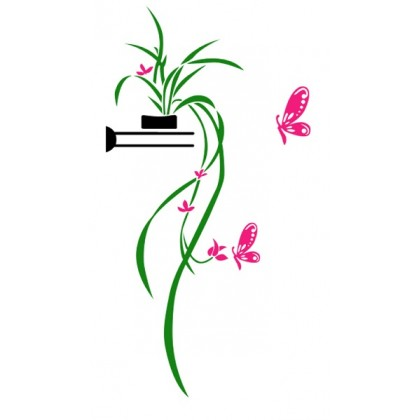 3D crystal acrylic sticker natural plant and butterfly (pink) -AC370