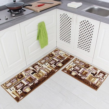 Creative Kitchen Carpet Combo Set Home Decoration (Coffee Cups) - Code: CP007 (40*60cm + 40*120cm)