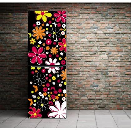 Bar Cafe black flower refrigerator refurbished stickers