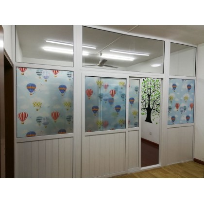 Hot Air Balloon Background Frosted Glass Window Shading Film Tinted for Child's room