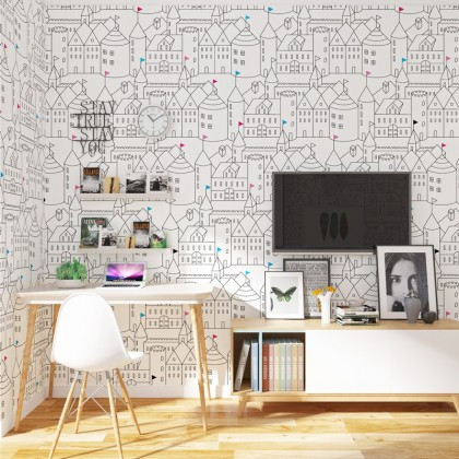 Castle Background PVC Waterproof Contact Paper Wallpaper Self-Adhesive Sticker