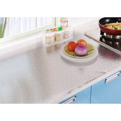 Kitchen Oil Proof Waterproof Sticker Aluminum Foil Kitchen Stove Cabinet Drawer Peel Grain Self Adhesive Wallpaper Sticker