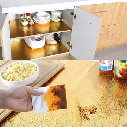 Aluminium Foil Paper Golden Silver Kitchen Oil Proof Waterproof Sticker Kitchen Stove Cabinet Drawer Peel Grain Self Adhesive Wallpaper Sticker