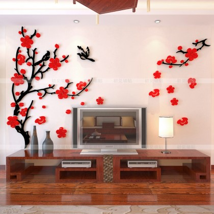 3D acrylic sticker chinese style plum blossom flowers tree background wall art decoration