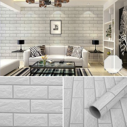 White Brick Pattern Contact Paper Wallpaper Sticker