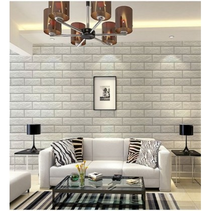 (Brick) White Brick Pattern Peel and Stick Wallpaper  Contact Paper or Wall Paper Self Adhesive Wallpaper Easily Removable Wallpaper