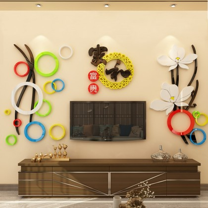3D acrylic sticker chinese new year flowers background wall art decoration