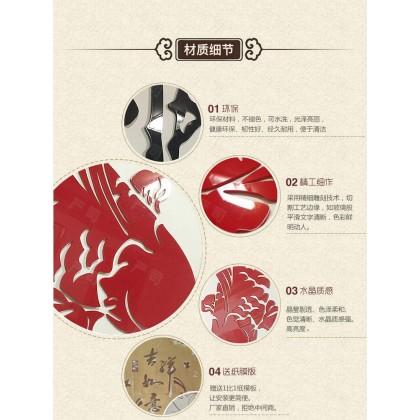 3D acrylic sticker chinese style koi carp plum blossom flowers tree background wall art decoration