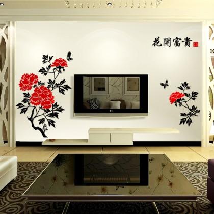 3D acrylic sticker flowers background wall art decoration-AC321-1