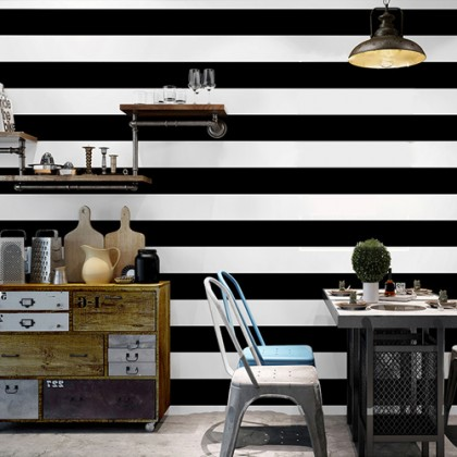 Black Stripe Adhesive Contact Paper Waterproof Wallpaper Sticker