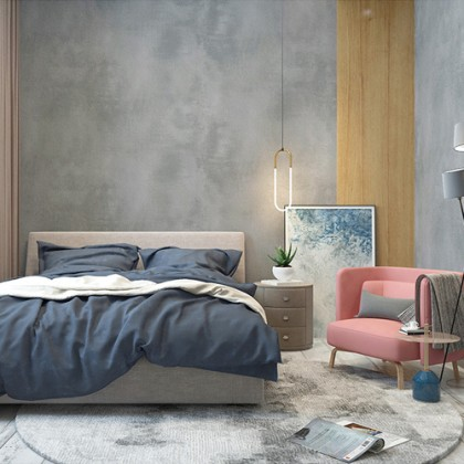 Grey Cement Concrete Texture Wallcovering Wallpaper Bedroom and Living Room Decoration