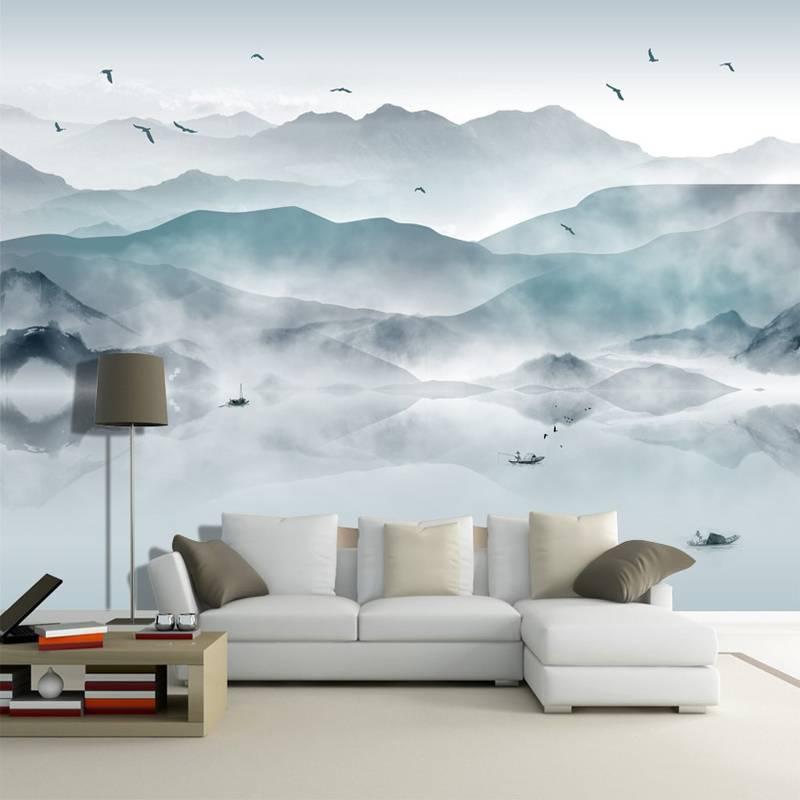 Горы рисунок акварелью на стене