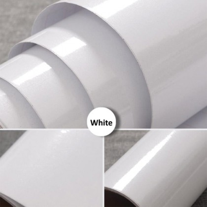 (Plain) Shiny White Pearlescent Contact Wallpaper Sticker Peel and Stick Wallpaper Removable Drawer and Shelf Liner for Kitchen Cabinets Furniture Cover Wall Decor Self Adhesive