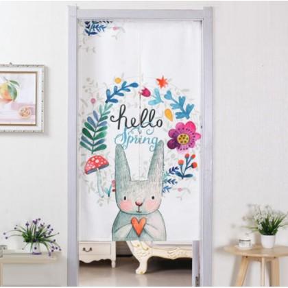 Cute flowers rabbit home decoration door curtain