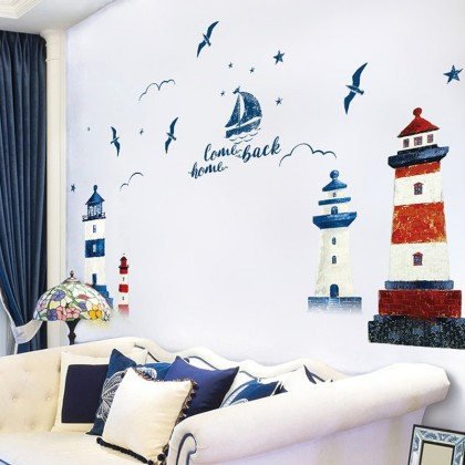 Lighthouse Oil Painting Style 2D Wall Stickers - TYXL8365