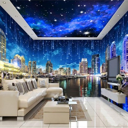 City Night Scene Mural Wallpaper-Mural1008