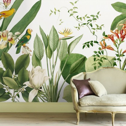 Parrots And Green Leaves Mural Wallpaper-Mural1009