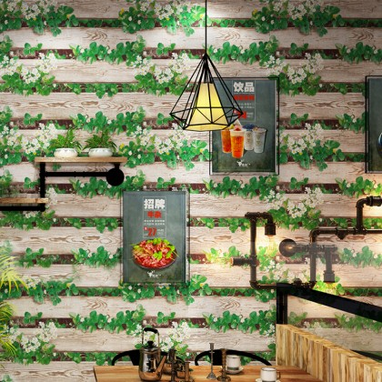 Retro Garden Wood Fence Wallpaper for Cafe, Restaurant and Shops Decoration
