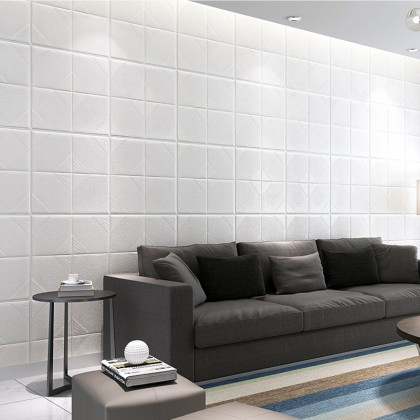 3D Self-Adhesive Anti-Collision Foam White Wall Sticker - Code: 6060