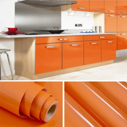 (Plain) Shiny Orange Kitchen Cabinet Liner Adhesive Contact Paper for Cabinet Cover Contact Paper Self Adhesive Shelf Liner Adhesive Contact Paper Waterproof Wall Stickers Self Adhesive Wallpaper for Kitchen Counter tops