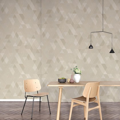 Brown Geometric Square Wallpaper Non-Adhesive Wall Covering for Bedrooms and Living Room