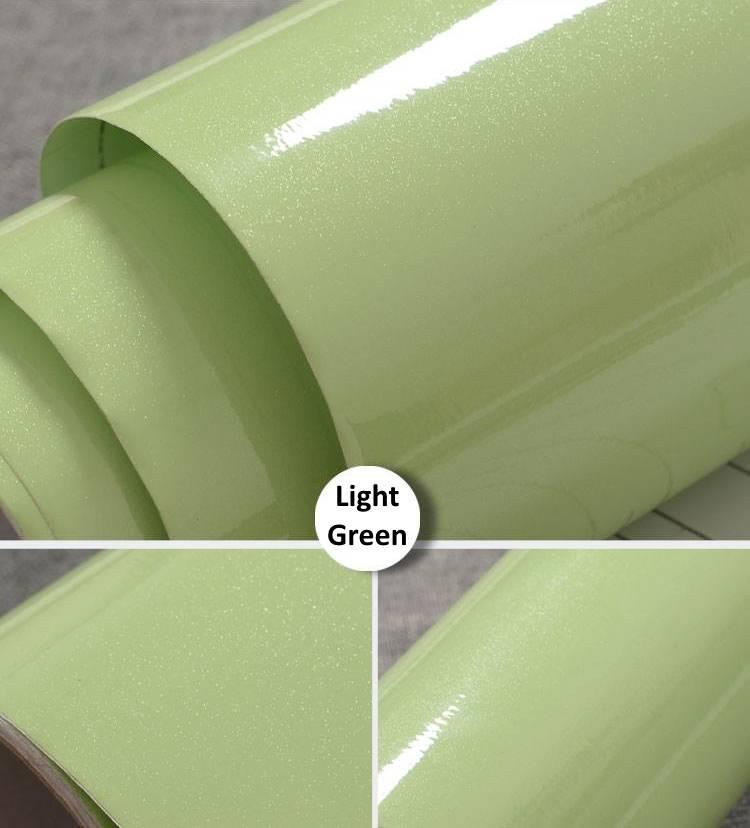 (Plain) Shiny Light Green Sticker Kitchen Cabinet Liner ...