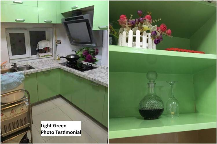 Shiny Light Green Sticker Kitchen Cabinet Liner Contact ...