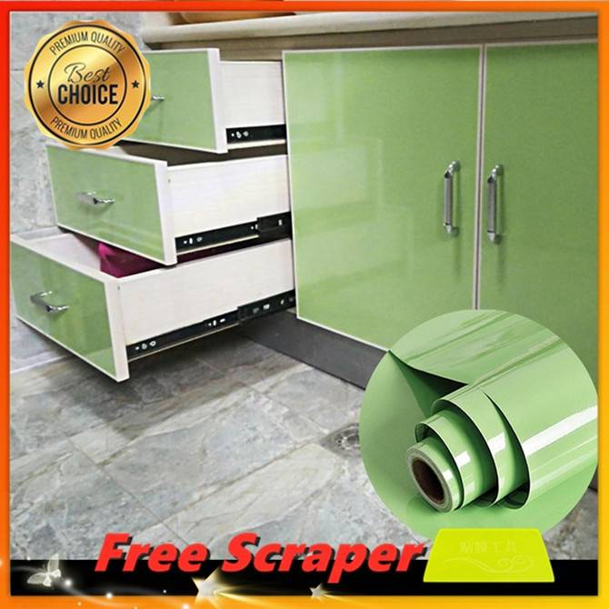 Plain Shiny Light Green Sticker Kitchen Cabinet Liner Contact Paper For Cabinet Cover Self Adhesive Shelf