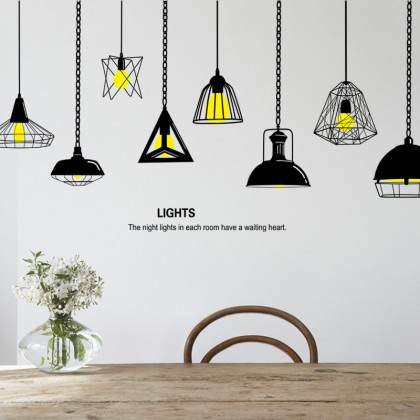 Hanging light bulb wall art decoration removable self-adhesive sticker