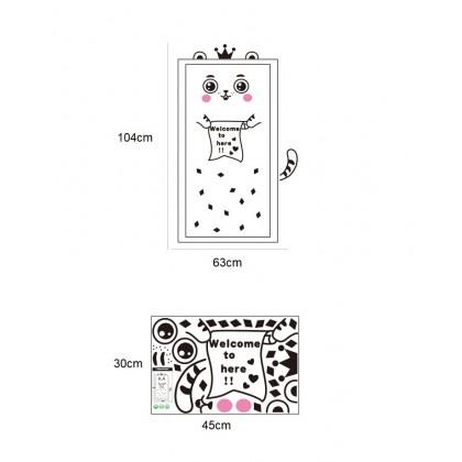 Cartoon cat wall art decoration removable self-adhesive sticker