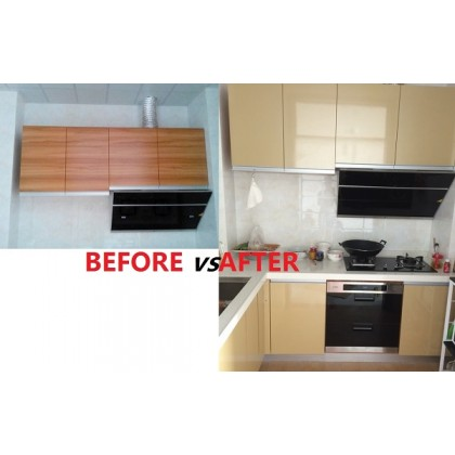 (Plain) Shiny Champagne Pearlescent Contact Wallpaper Sticker Self-Adhesive Film Waterproof Furniture use for Counter top Cabinet, Durable,Leave No Glue Surfaces Easy to Clean