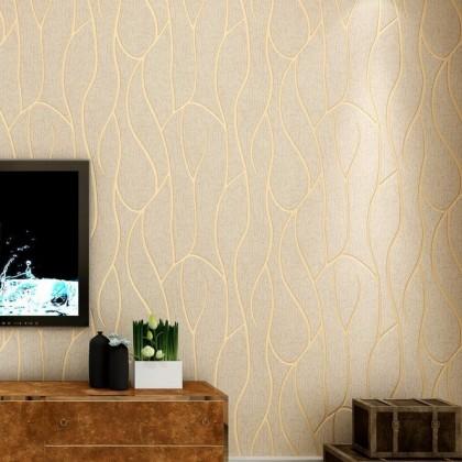 3D Brown Stripe & Curve Wallcovering Non-Woven Home Wallpaper