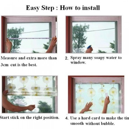 DIY Privacy Glass Window Tinted White Trunk Background Window Shading Film Tint - [Width:90cm]