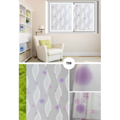 Purple Dandelion Background Frosted Glass Window Shading Film Tinted for Home