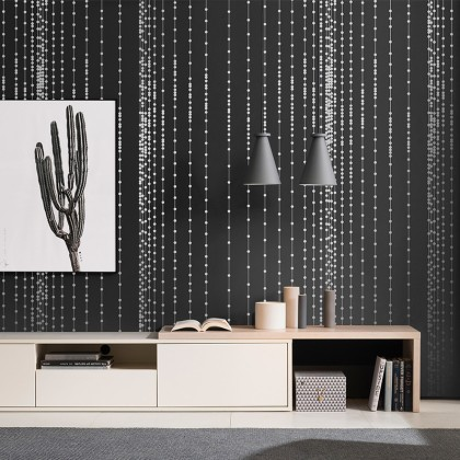 Bead Curtain Texture Black Background Wallpaper Non-Adhesive Wallcovering for Home Decoration