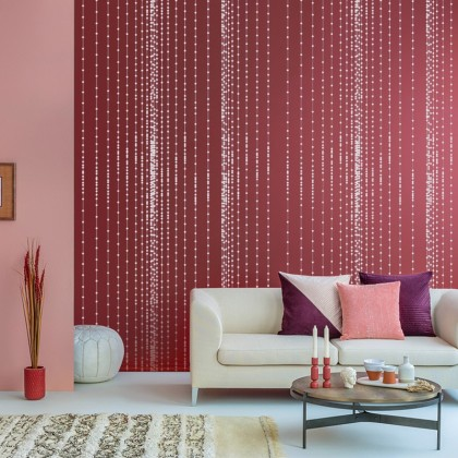 Bead Curtain Texture Red Background Wallpaper Modern Wallcovering for Home Decoration