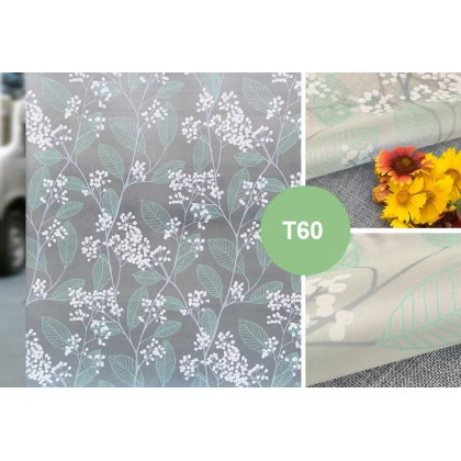 Green Leaves Pattern Frosted Glass Window Shading Film Tinted for Home