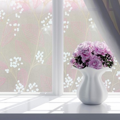 Pink Leaves Pattern Frosted Glass Window Shading Film Tinted for Home
