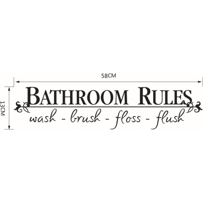Bathroom rules wall art decoration removable toilet sticker