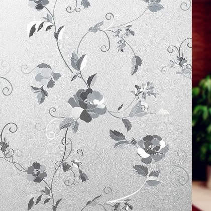 Peony Flower Pattern Frosted Glass Window Shading Film Tinted film for house window [Size: 90cm]