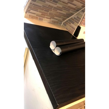 (Wood) Black Wood Grain Texture PVC Contact Paper Matte Wallpaper Sticker Decorative for Shelf Liners Cabinets Shelves Doors Self Adhesive Film Peel & Stick Waterproof Removable Wallpaper