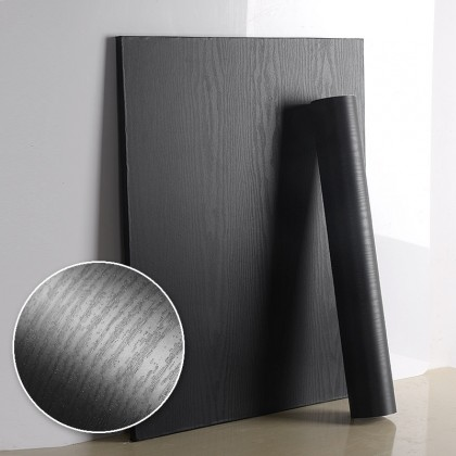 Black Wood Grain Texture PVC Contact Paper Matte Wallpaper Sticker Decorative for Shelf Liners Cabinets Shelves Doors Self Adhesive Film Peel & Stick Waterproof Removable Wallpaper
