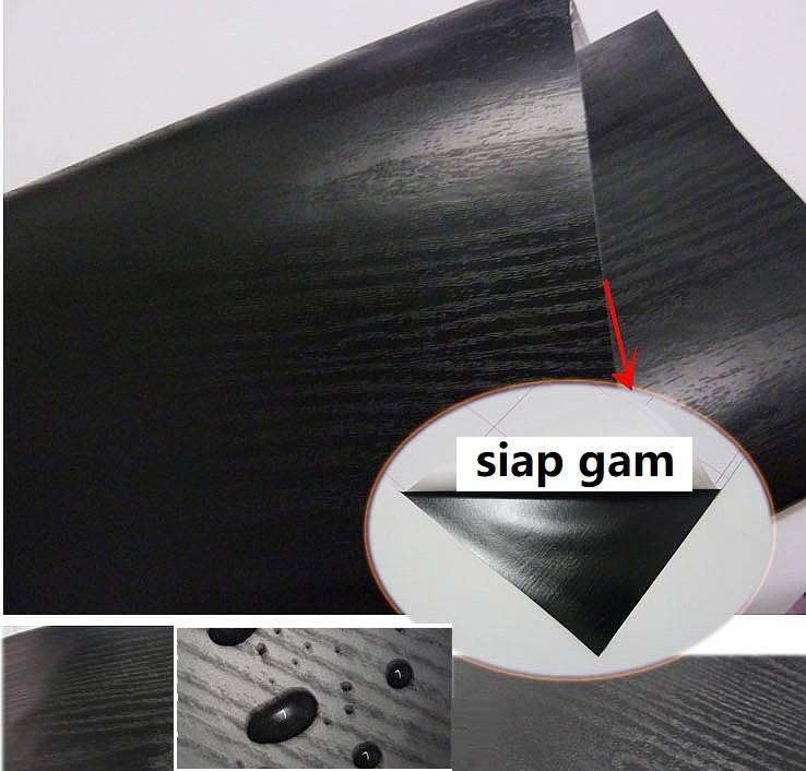 Black Wood Grain Texture PVC Contact Paper Matte Wallpaper
