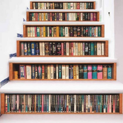 Creative bookshelf 3D staircase wallpaper sticker