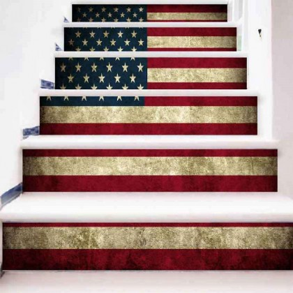American flag 3D staircase wallpaper sticker
