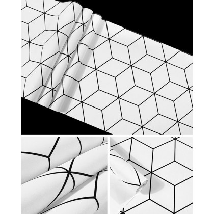 Cube hexagon white background home decoration wallpaper